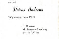 Fotoalbum Piet Boersma, 036, Bertekaartsje Piet Boersma, 1959