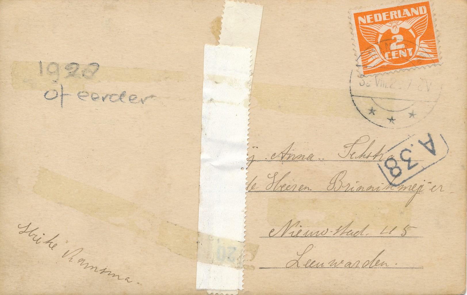 Fotoalbum Andre Kamsma, 002, achterkant kaart, merke 1928