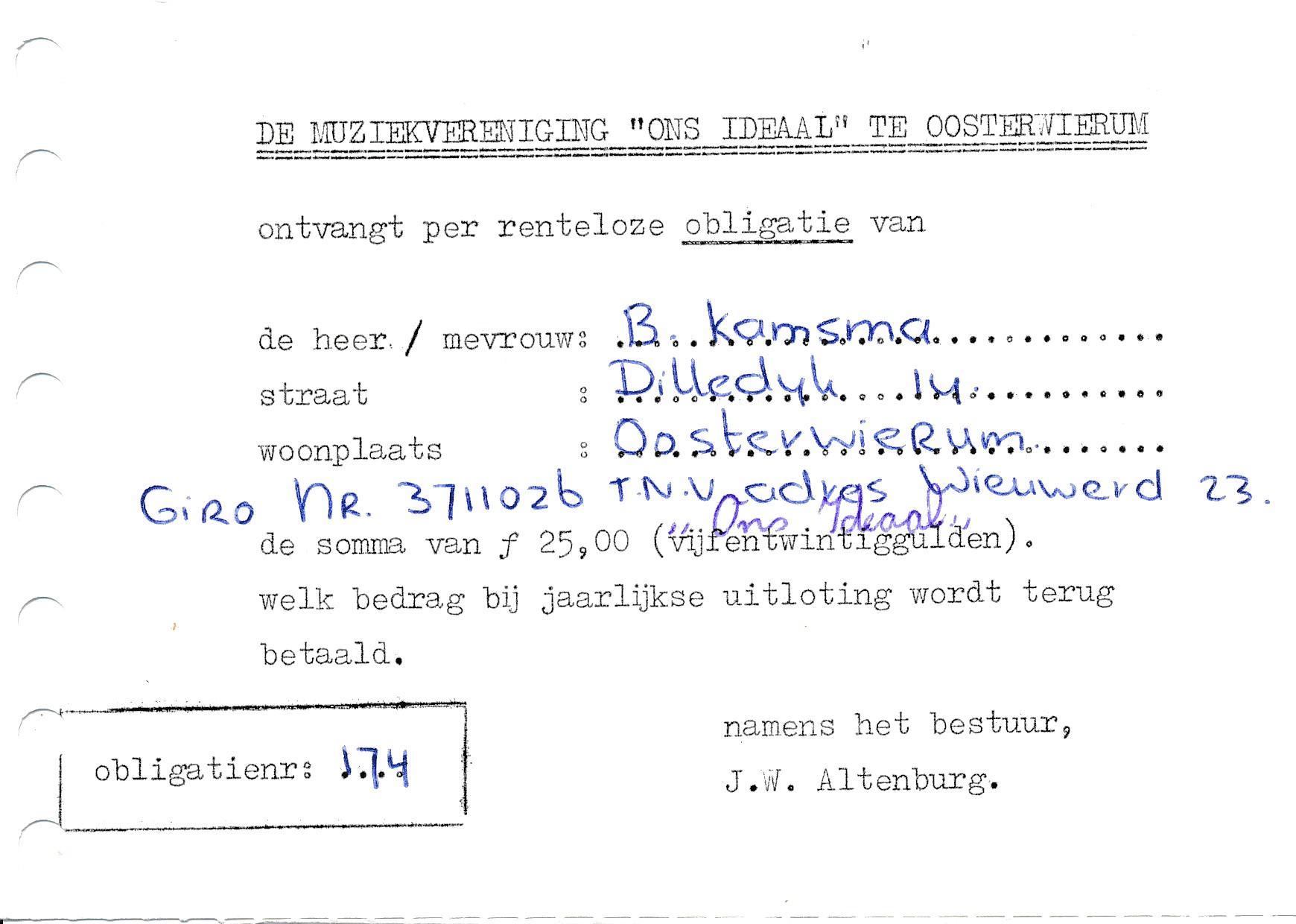 Fotoalbum Andre Kamsma, 040, Obligaasje Ons Ideaal te Oosterwierum, 1956
