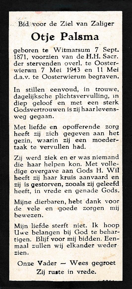 Fotoalbum Andre Kamsma, 107, Bidprintsje Otje Palsma,hushâldster fam. Kamsma, 07-09-1871 tot en met 07-05-1943
