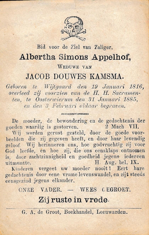 Fotoalbum Andre Kamsma, 111, bidprint, Albertha Siemons Appelhof, weduwe fan Jacob Douwes Kamsma, 19-01-1816 tot 31-01-1885