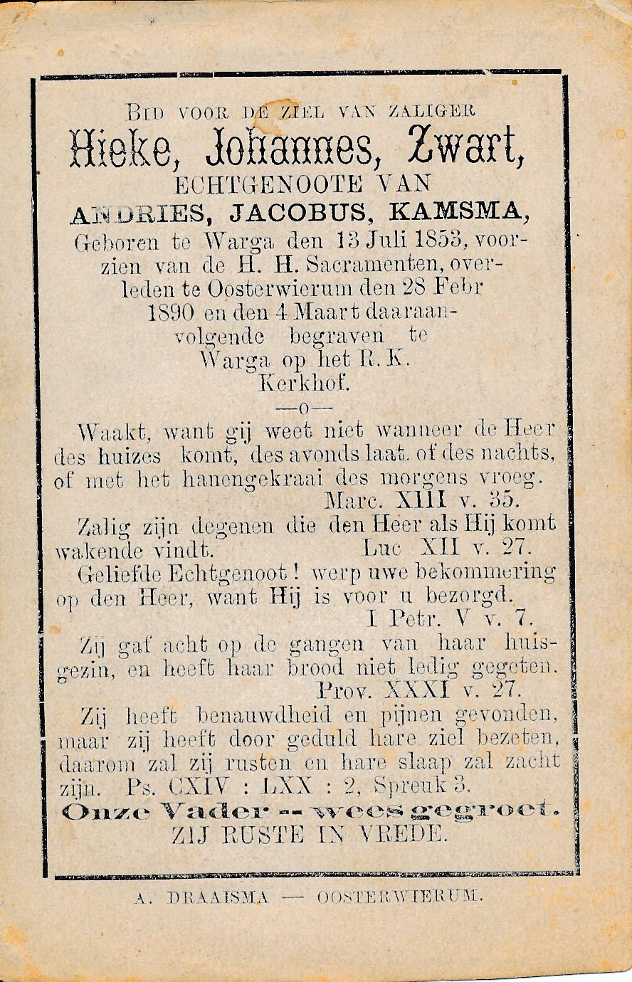 Fotoalbum Andre Kamsma, 112, Hieke Johannes Zwart, frou fan Andries Jacobus Kamsma, 13-07-1853 tot 28-02-1890