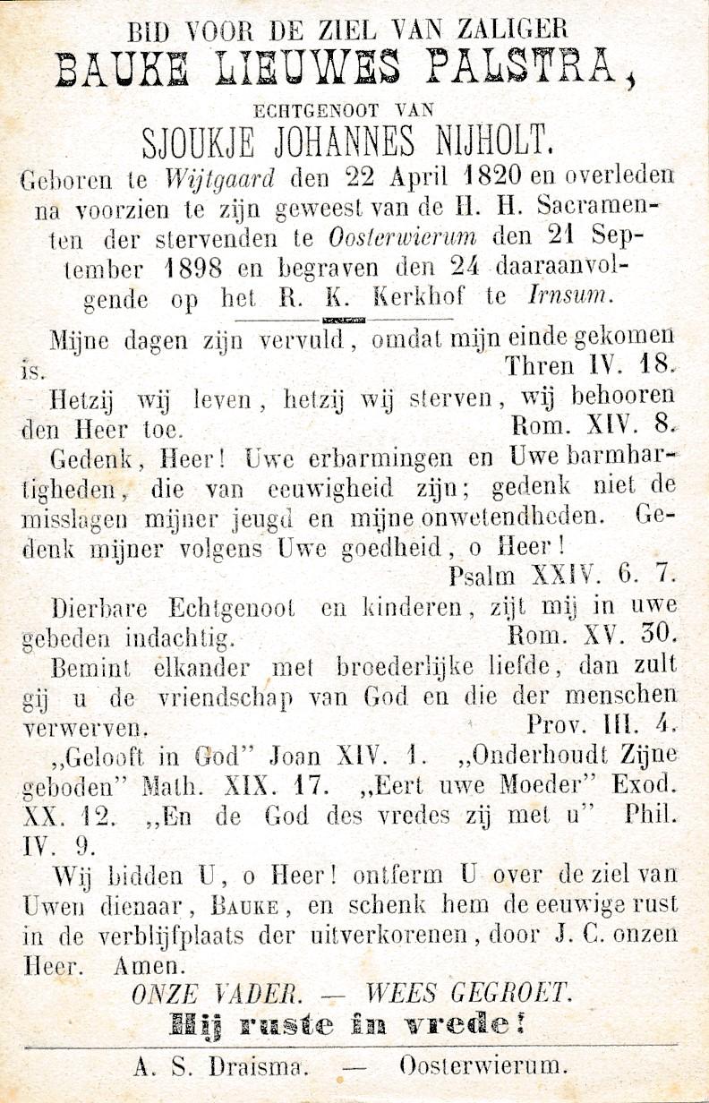 Fotoalbum Andre Kamsma, 113, Bauke Lieuwes Palstra, man fan Sjoukje Johannes Nijhold, 22-04-1820 tot 21-09-1898
