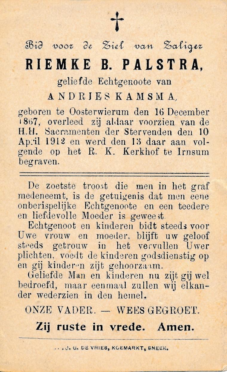 Fotoalbum Andre Kamsma, 119, bidprint fan Riemke B. Palstra, 16-12-1867 tot 10-04-1912