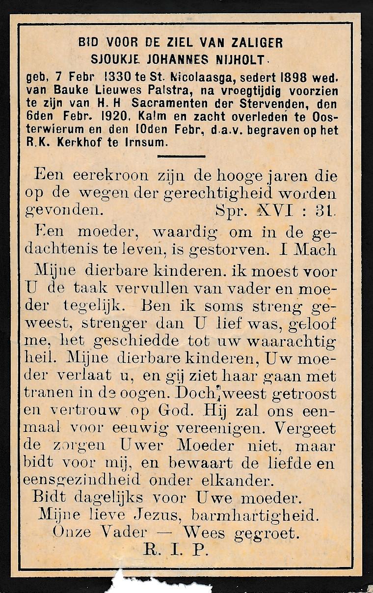 Fotoalbum Andre Kamsma, 122, Sjoukje Johannes Palstra-Nijholt, (07-02-1830 tot 06-02-1920) frou fan Bauke Lieuwes Palstra