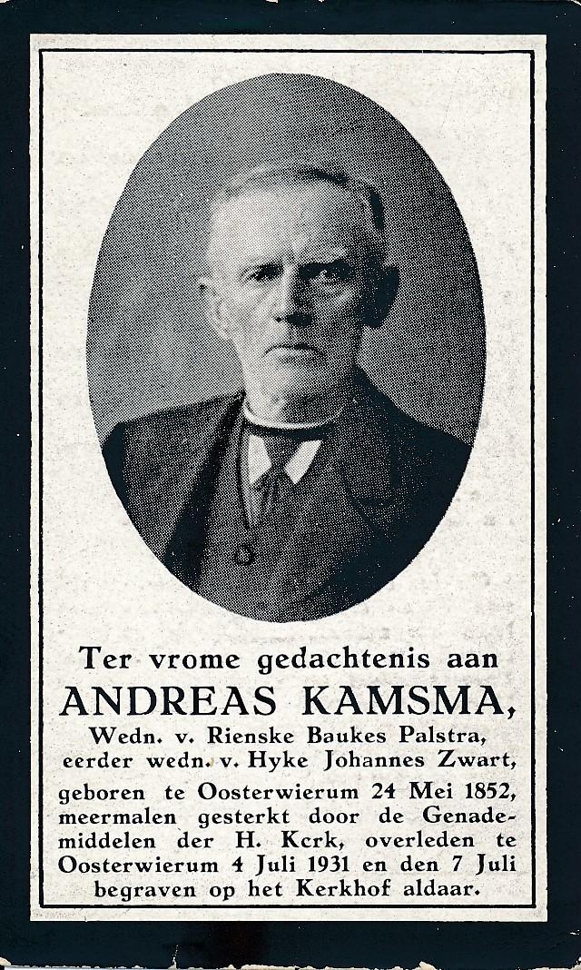 Fotoalbum Andre Kamsma, 125, Bidprintsje Andreas Kamsma, 24-05-1852 tot 04-07-1931, man fan Rynske Baukes Palstra en Hyke Johannes Zwart, heit fan Bauke Kamsma