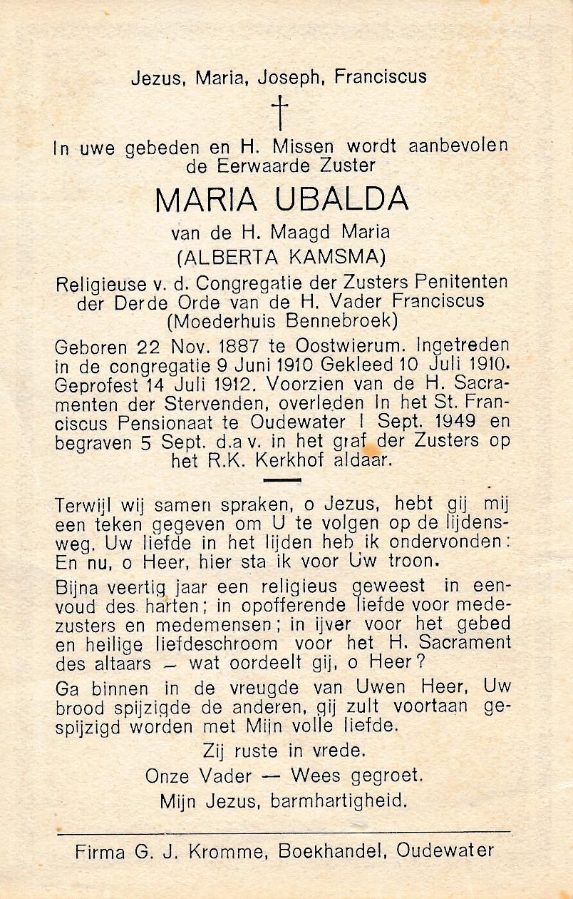 Fotoalbum Andre Kamsma, 131, Bidprint Maria Ulbalda, Alberta Kamsma, 22-11-1887 tot 01-09-1941