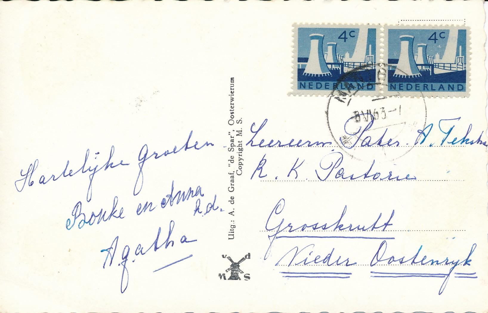 Fotoalbum Andre Kamsma, 199, ansichtkaart Easterwierrum, 1963