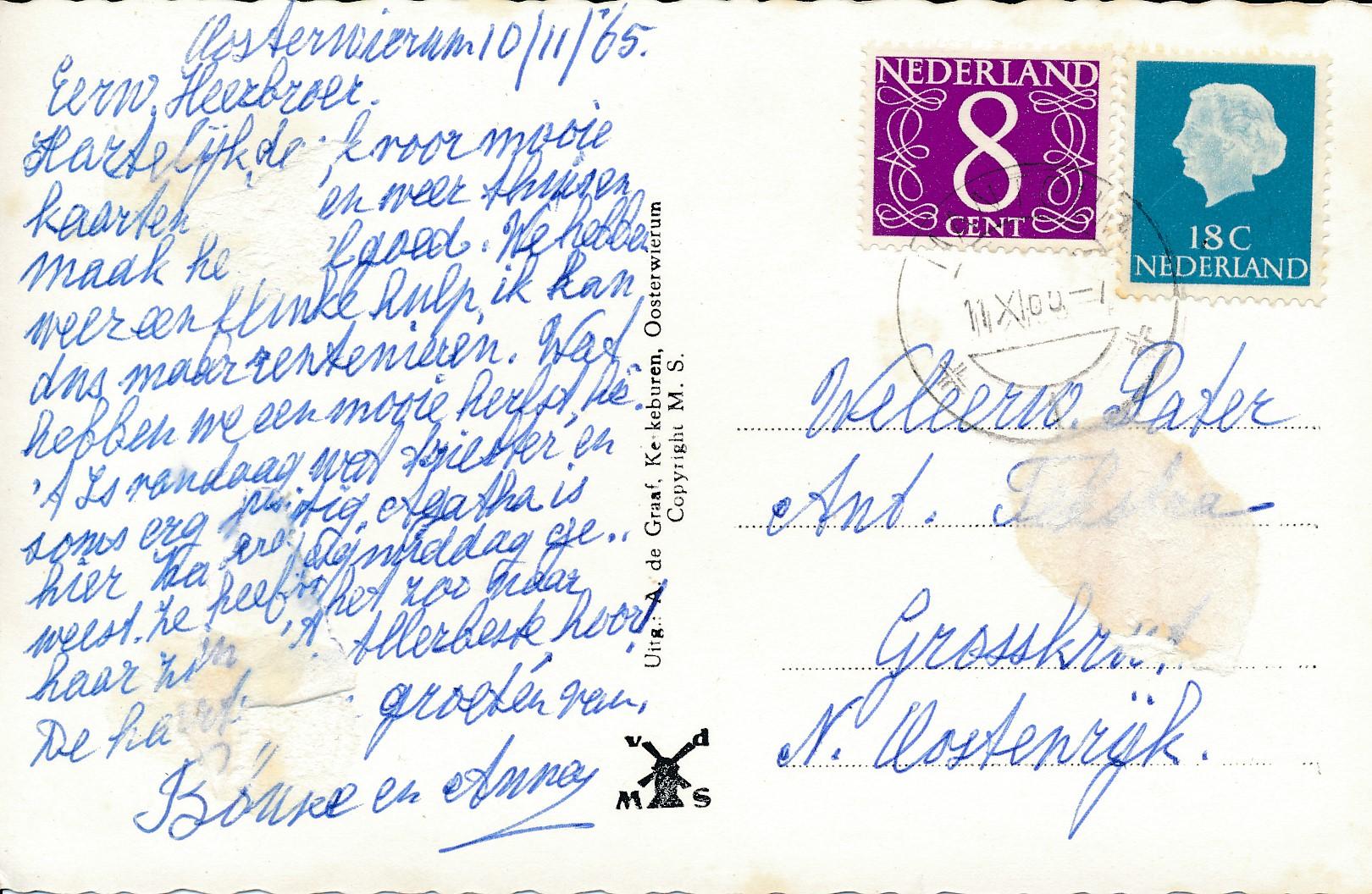 Fotoalbum Andre Kamsma, 203, ansichtkaart Easterwierrum, 10-11-1965