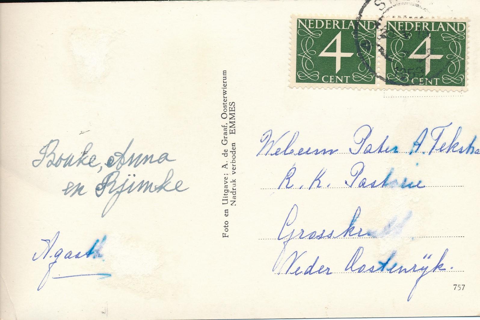 Fotoalbum Andre Kamsma, 205, ansichtkaart, 1953