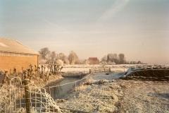 Fotoalbum Meint Miedema, Winterfoto pleats Hegedyk 1, 06, Sicht op de buorren by it hok lâns, rûnom 1985