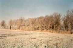 Fotoalbum Meint Miedema, Winterfoto pleats Hegedyk 1, 14, Sicht op de pleats van Jappie Bonnema, (Tsjintwurdich Tjitte Symen Reitsma), foar de pleats fan Miedema, rûnom 1985