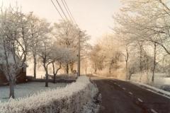 Fotoalbum Meint Miedema, Winterfoto pleats Hegedyk 1, 16, Sicht op de sidekant fan de pleats, richting Boazum, rûnom 1985