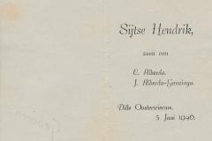 Fotoalbum Sytse Alberda, 067, bertekaartsje Sijtse Hendrik Alberda