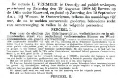 Publieke Verkooping een Stoom- en Windkorenmolen met Woon en Pakhuis, schuur bij de Dille onder Oosterwierum, op zaterdag 29 augustus 1908